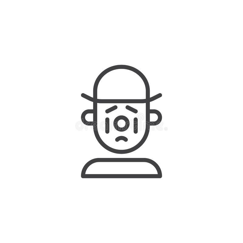 Linea triste icona del pagliaccio illustrazione di stock