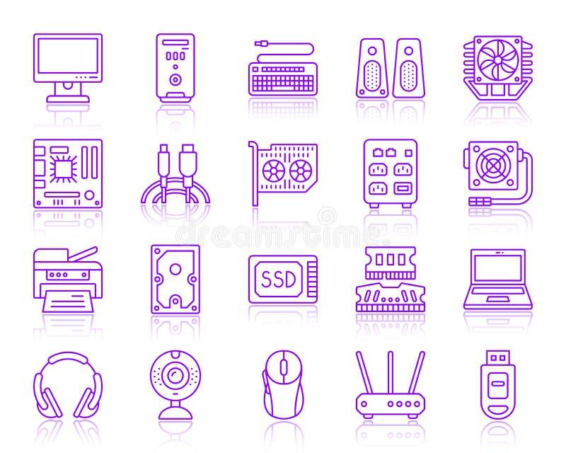 Linea ultravioletta semplice insieme del computer di vettore delle icone royalty illustrazione gratis