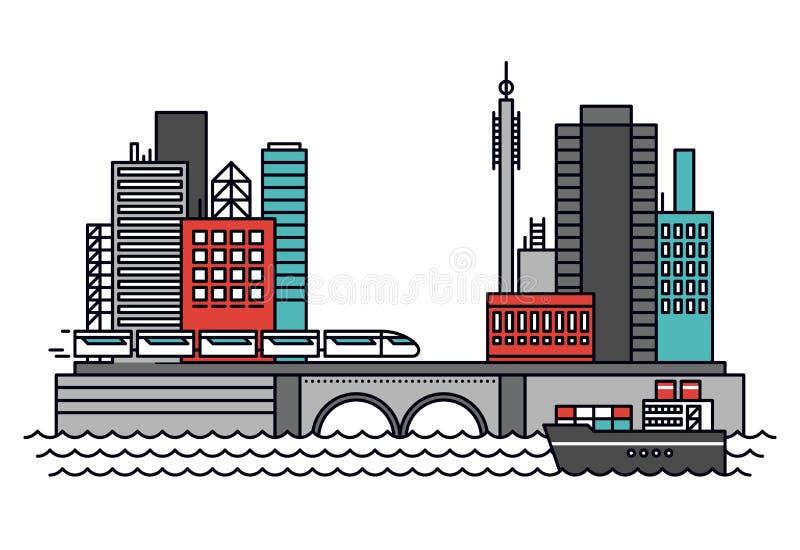 Linea urbana illustrazione del trasporto di stile royalty illustrazione gratis