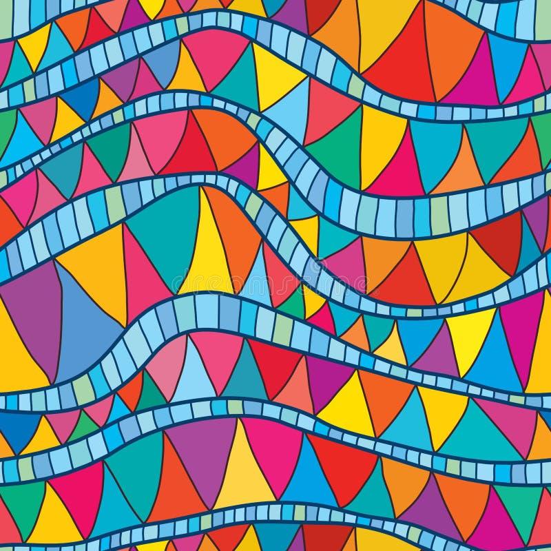 Linea variopinta blu modello senza cuciture di Wave illustrazione di stock