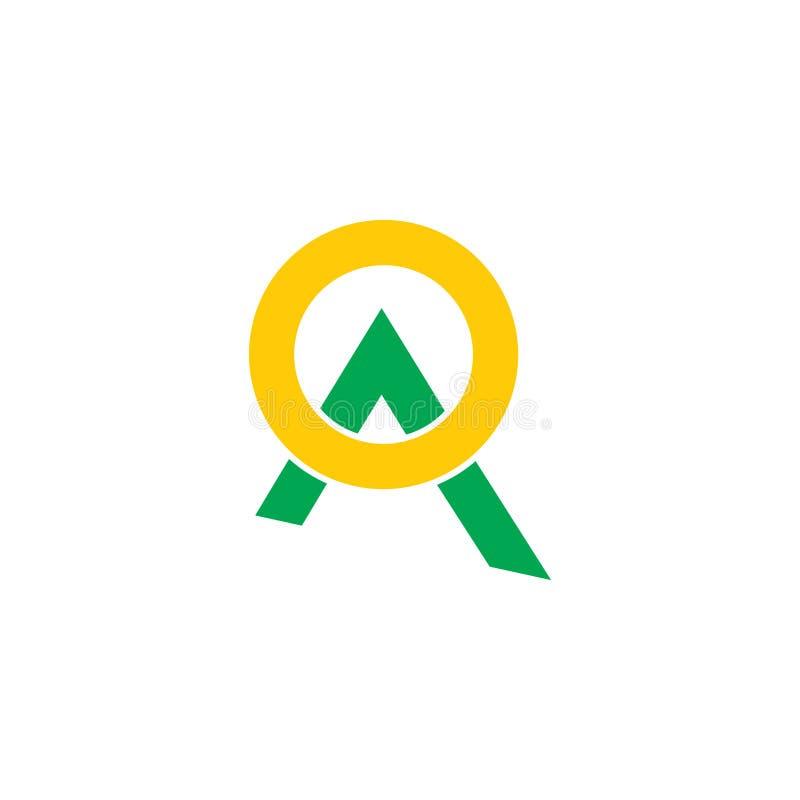Linea verde astratta vettore geometrico del sole della montagna di logo royalty illustrazione gratis