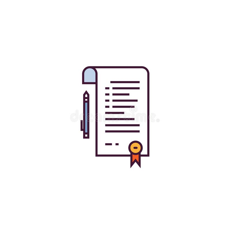 Linea vettore del contratto e di accordo illustrazione di stock