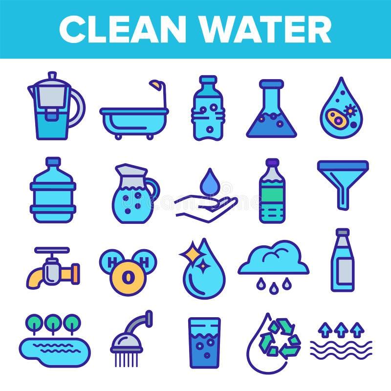 Linea vettore dell'acqua pulita dell'insieme dell'icona Cura della natura Cada l'acqua pulita fresca Icona di Eco della bevanda I royalty illustrazione gratis