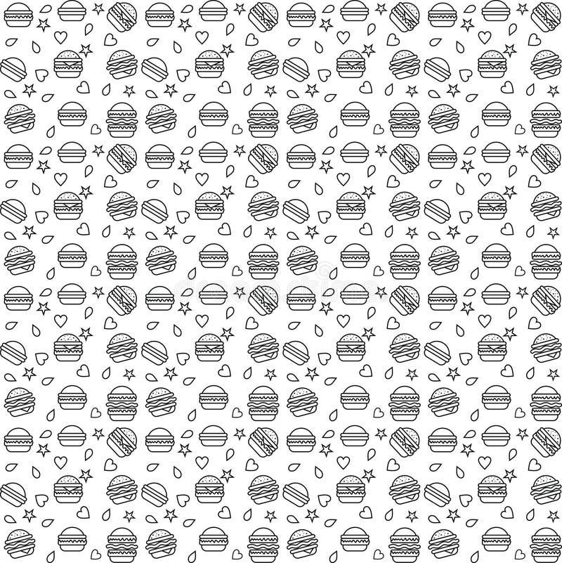 Linea vettore dell'hamburger del modello illustrazione di stock