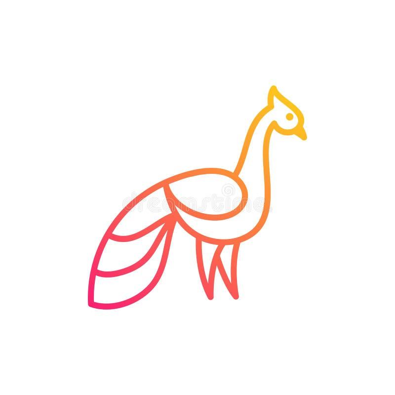 Linea vettore dell'illustrazione di Art Peacock Color Designs royalty illustrazione gratis