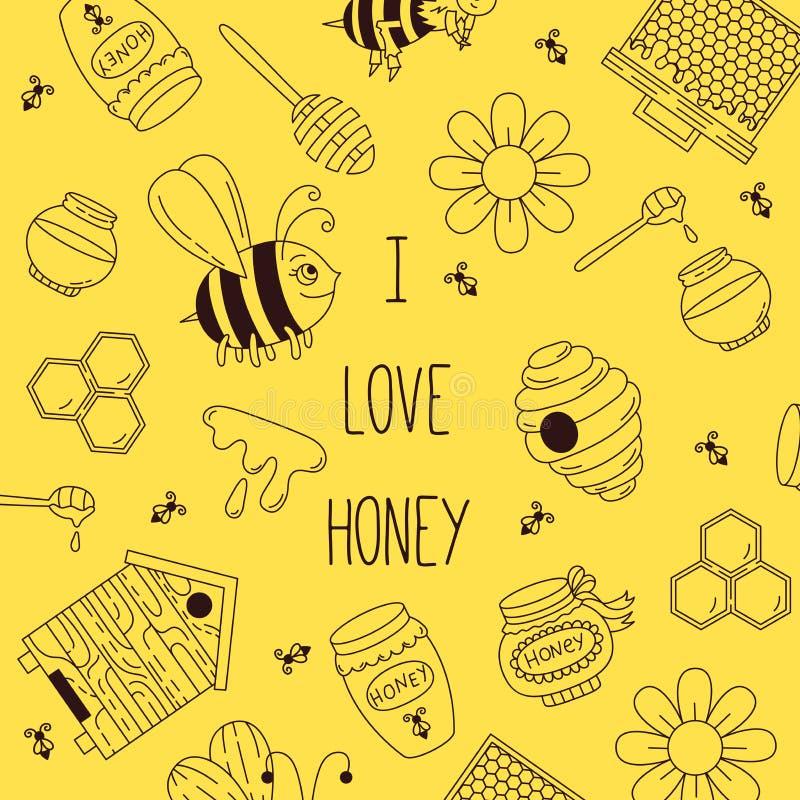 Linea vettore di scarabocchio dell'ape del miele illustrazione vettoriale