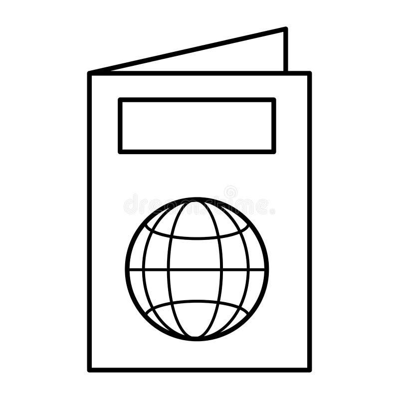 Linea viaggio internazionale del documento di identificazione del passaporto illustrazione vettoriale