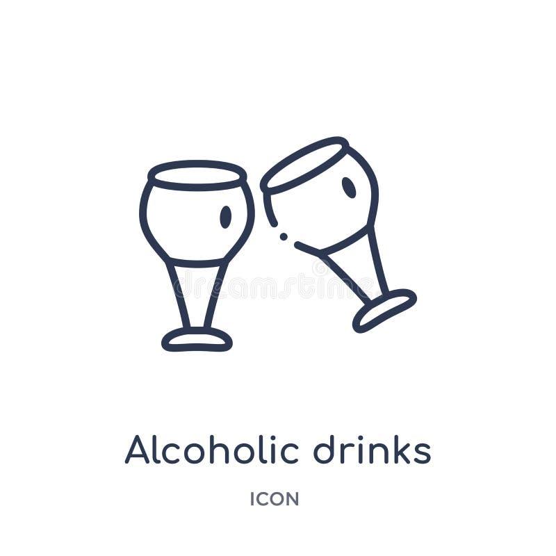 Lineair alcoholisch drankenpictogram van de inzameling van het Voedseloverzicht Het dunne pictogram van lijn alcoholische die dra royalty-vrije illustratie