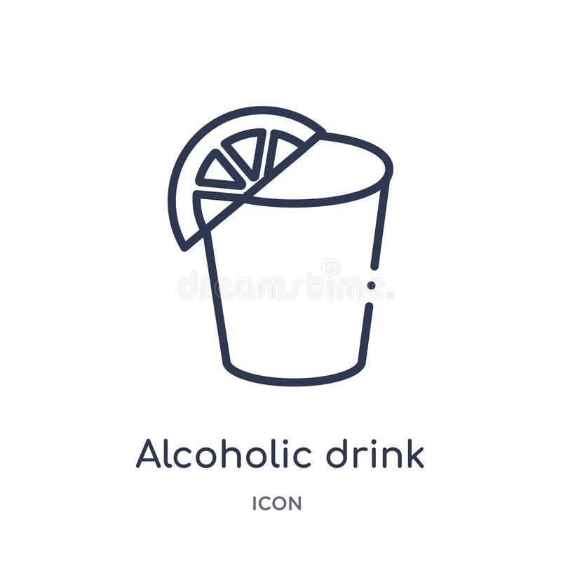 Lineair alcoholisch drankpictogram van Fastfood overzichtsinzameling De dunne vector van de lijn alcoholische die drank op witte  royalty-vrije illustratie