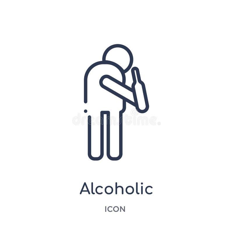 Lineair alcoholisch pictogram van de inzameling van het Voedseloverzicht Dun lijn alcoholisch die pictogram op witte achtergrond  royalty-vrije illustratie