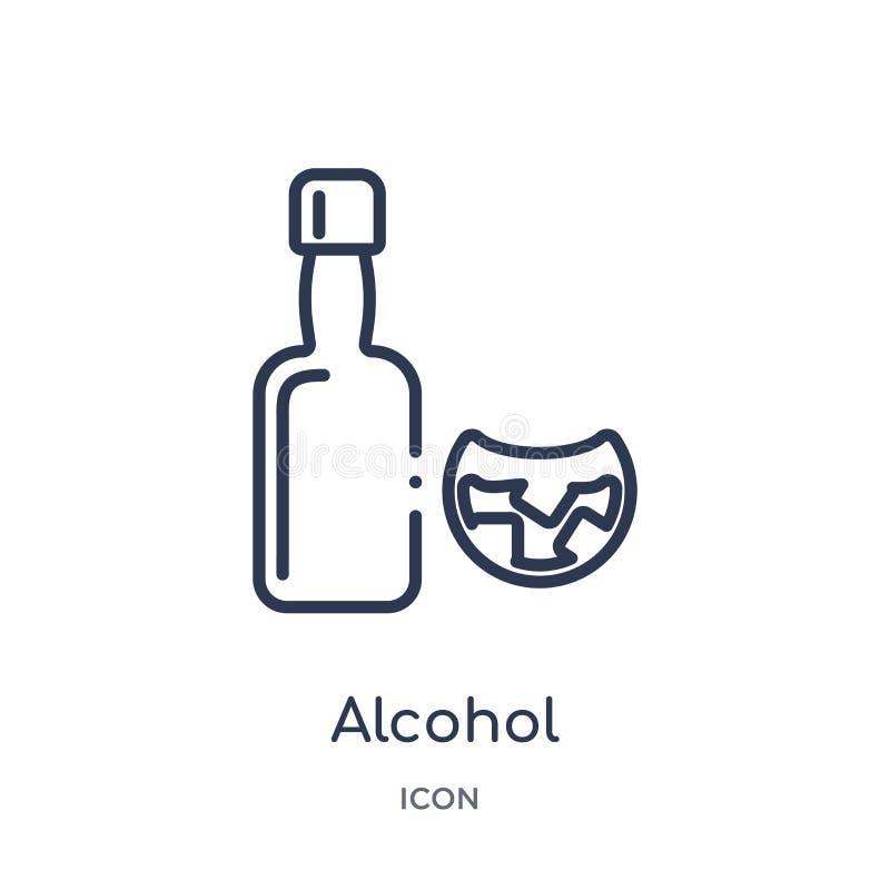 Lineair alcoholpictogram van de inzameling van het Drankenoverzicht De dunne vector van de lijnalcohol die op witte achtergrond w stock illustratie
