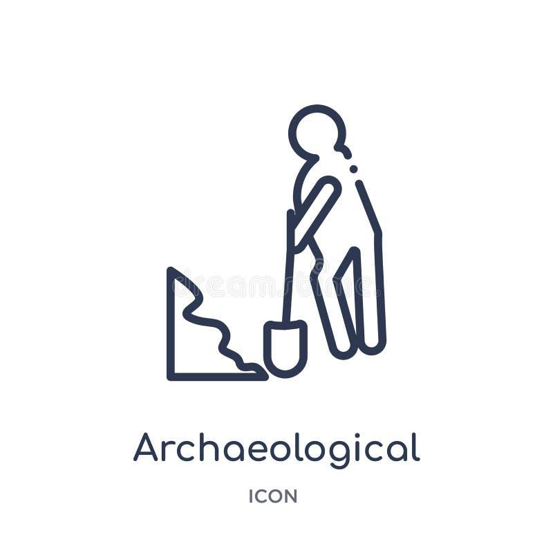 Lineair archeologisch pictogram van de inzameling van het Geschiedenisoverzicht Dun lijn archeologisch die pictogram op witte ach vector illustratie