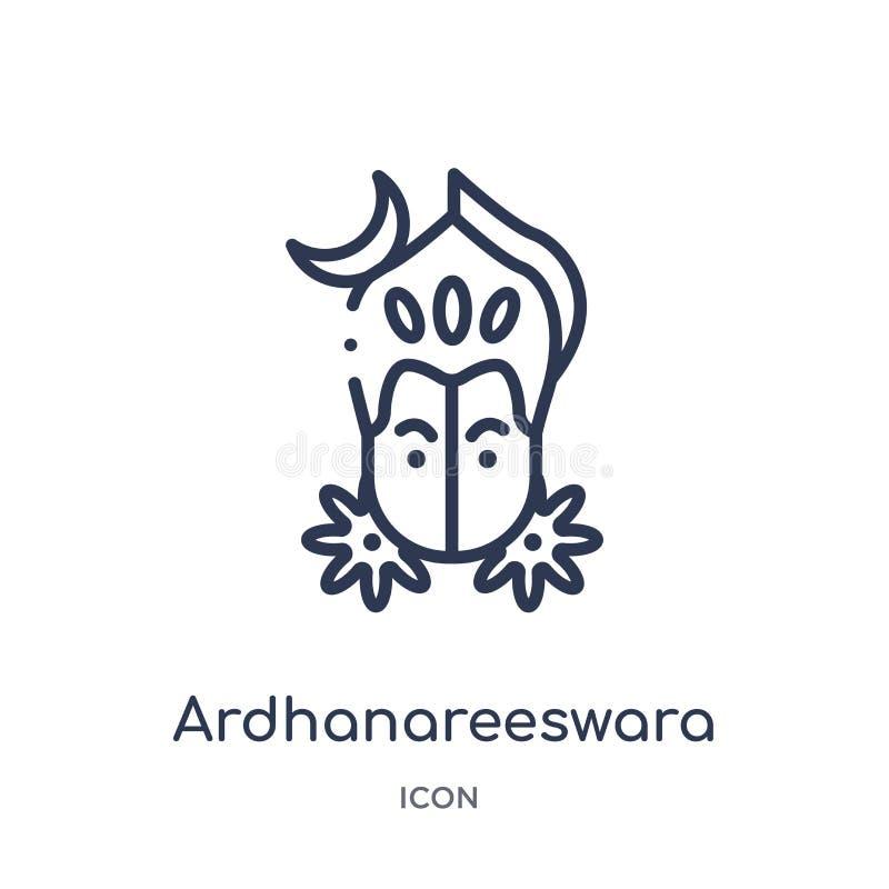 Lineair ardhanareeswarapictogram van het overzichtsinzameling van India Het dunne die pictogram van lijnardhanareeswara op witte  vector illustratie