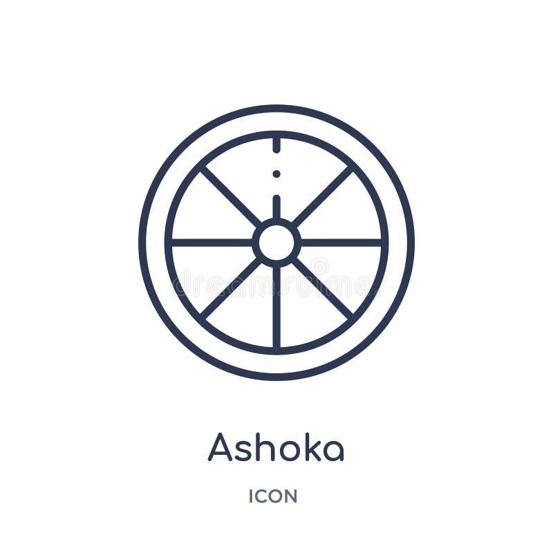 Lineair ashokapictogram van het overzichtsinzameling van India Het dunne die pictogram van lijnashoka op witte achtergrond wordt  vector illustratie