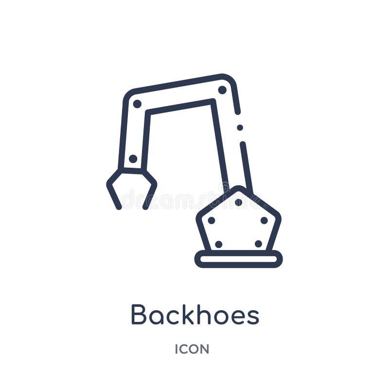 Lineair backhoes pictogram van de inzameling van het Bouwoverzicht Dunne die lijnbackhoes vector op witte achtergrond wordt geïso royalty-vrije illustratie