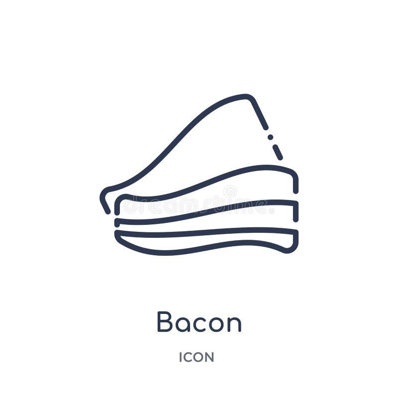 Lineair baconpictogram van de inzameling van het Gastronomieoverzicht Het dunne die pictogram van het lijnbacon op witte achtergr vector illustratie