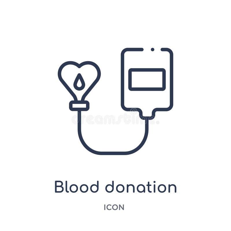 Lineair bloeddonatiepictogram van de inzameling van het Liefdadigheidsoverzicht De dunne die vector van de lijnbloeddonatie op wi vector illustratie