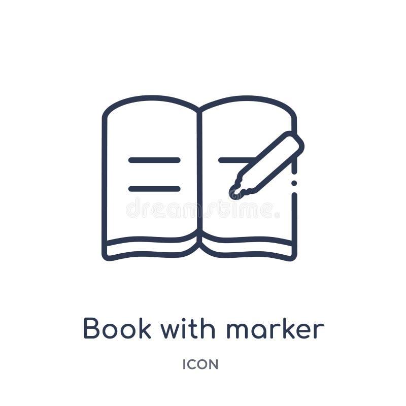 Lineair boek met tellerspictogram van de inzameling van het Onderwijsoverzicht Dun lijnboek met tellerspictogram dat op witte ach stock illustratie