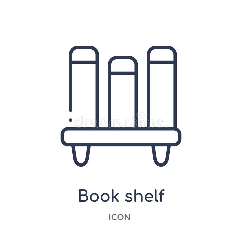 Lineair boekenplankpictogram van de inzameling van het Onderwijsoverzicht Het dunne die pictogram van de lijnboekenplank op witte vector illustratie