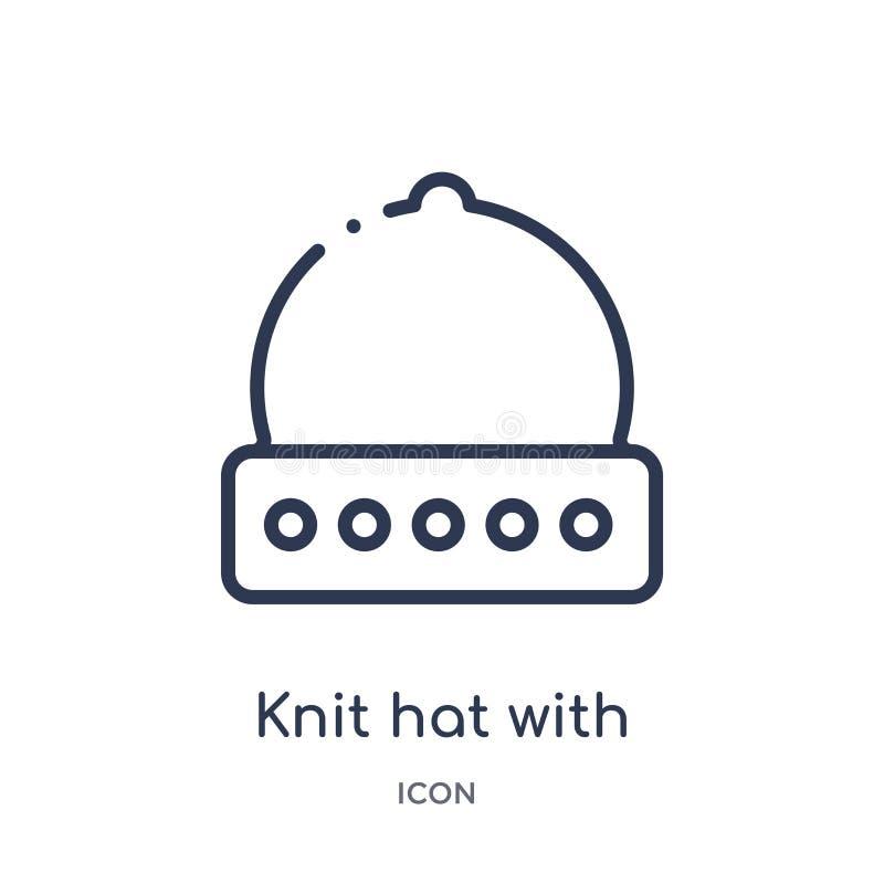Lineair brei hoed met pom pom pictogram van de inzameling van het Klerenoverzicht De dunne die lijn breit hoed met pom pom vector royalty-vrije illustratie