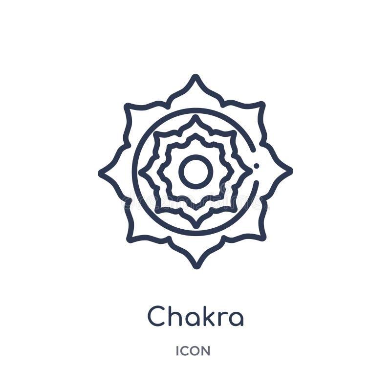 Lineair chakrapictogram van het overzichtsinzameling van India en van holi Het dunne die pictogram van lijnchakra op witte achter royalty-vrije illustratie
