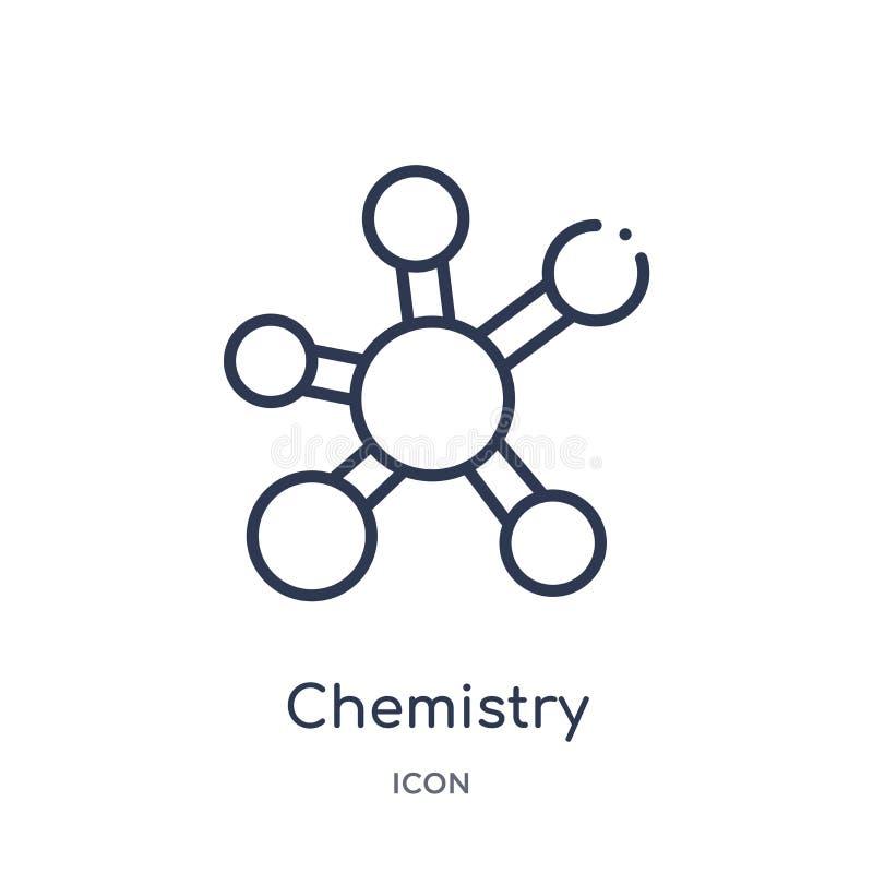 Lineair chemiepictogram van de inzameling van het Onderwijsoverzicht De dunne die vector van de lijnchemie op witte achtergrond w royalty-vrije illustratie