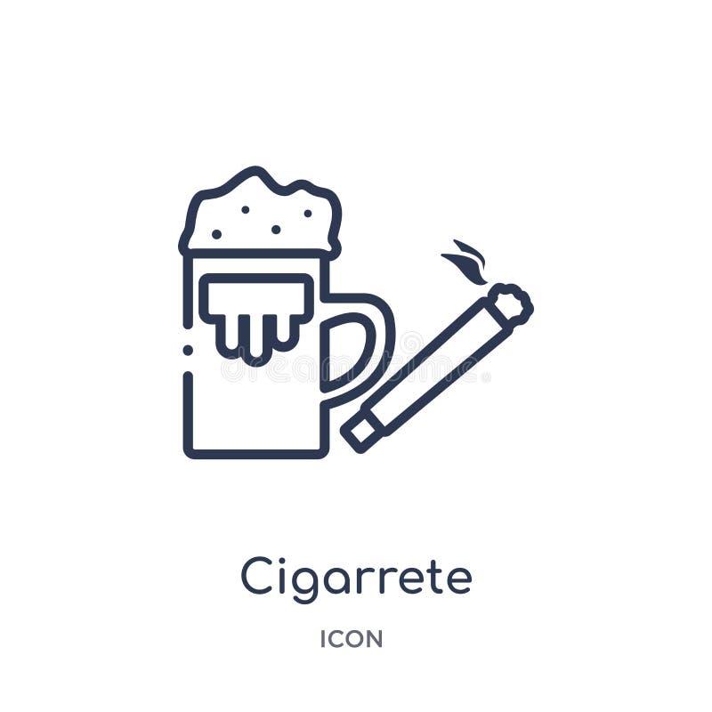 Lineair cigarretepictogram van de inzameling van het Alcoholoverzicht Dunne die lijn cigarrete vector op witte achtergrond wordt  stock illustratie