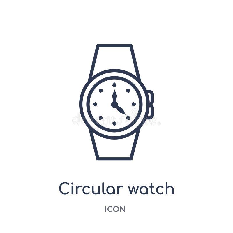 Lineair cirkelhorlogepictogram van Algemene overzichtsinzameling Het dunne pictogram van het lijn cirkeldiehorloge op witte achte royalty-vrije illustratie