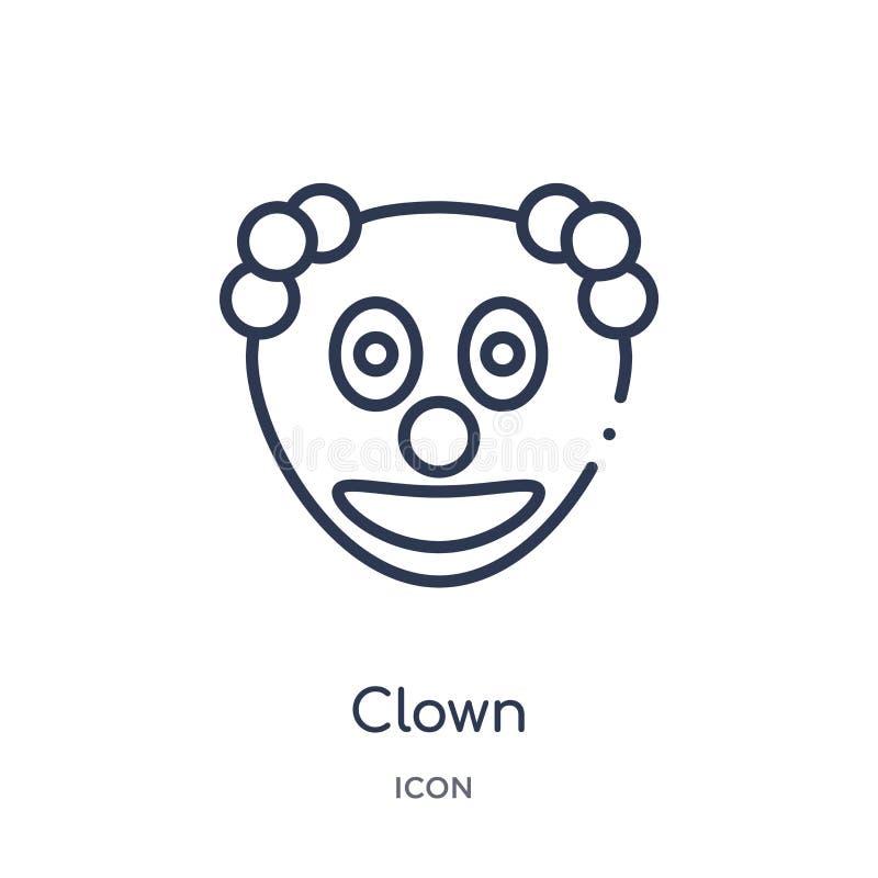 Lineair clownpictogram van de inzameling van het Emotiesoverzicht De dunne vector van de lijnclown die op witte achtergrond wordt vector illustratie