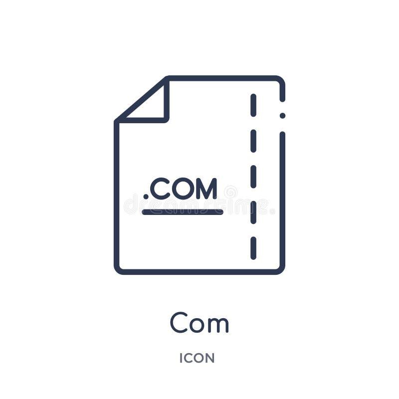 Lineair Com-pictogram van de inzameling van het Bestandstypeoverzicht De dunne vector van lijncom die op witte achtergrond wordt  stock illustratie
