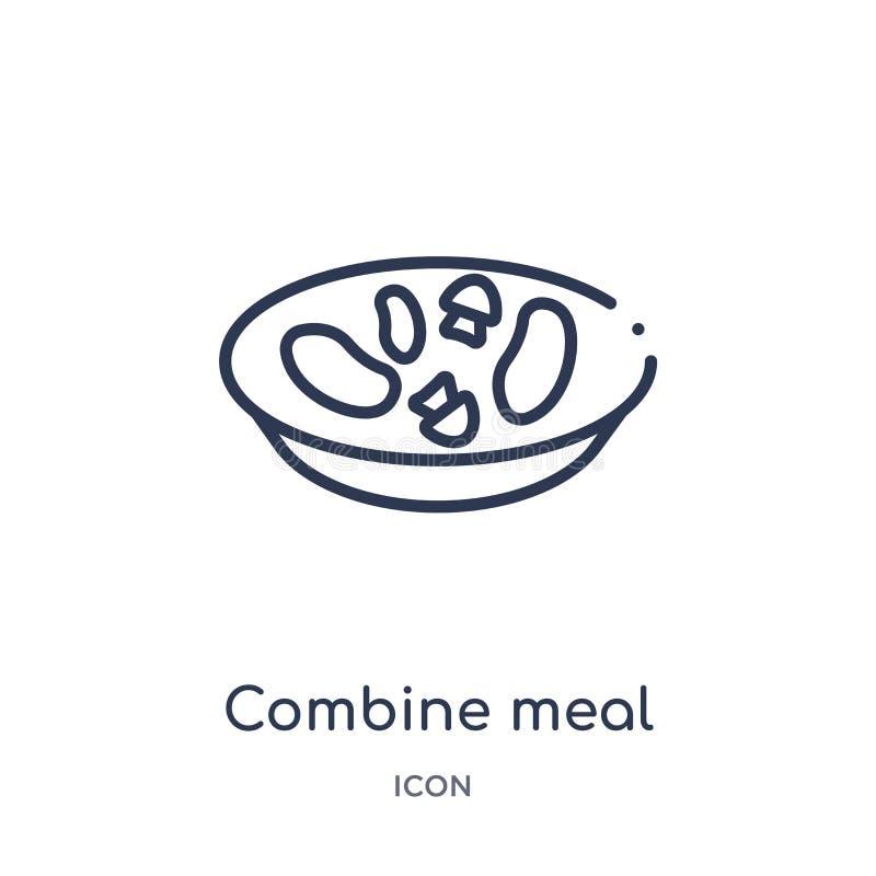 Lineair combineer maaltijdpictogram van het overzichtsinzameling van Bistro en van het restaurant De dunne die lijn combineert ma stock illustratie