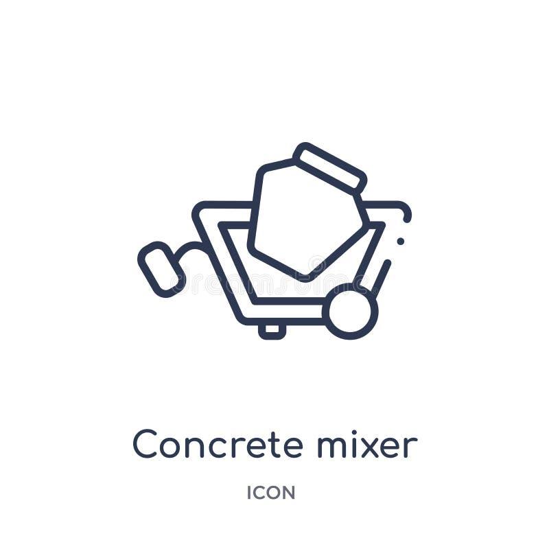 Lineair concrete mixerpictogram van het overzichtsinzameling van Bouwhulpmiddelen De dunne vector van de lijn concrete die mixer  stock illustratie