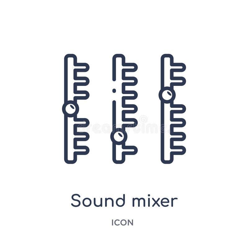 Lineair correct mixerpictogram van de inzameling van het Discooverzicht De dunne vector van de lijn correcte mixer die op witte a royalty-vrije illustratie