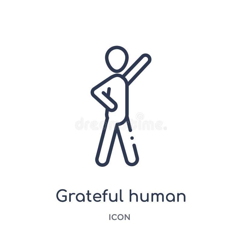 Lineair dankbaar menselijk pictogram van de inzameling van het Gevoelsoverzicht Dunne lijn dankbare menselijke vector die op witt stock illustratie