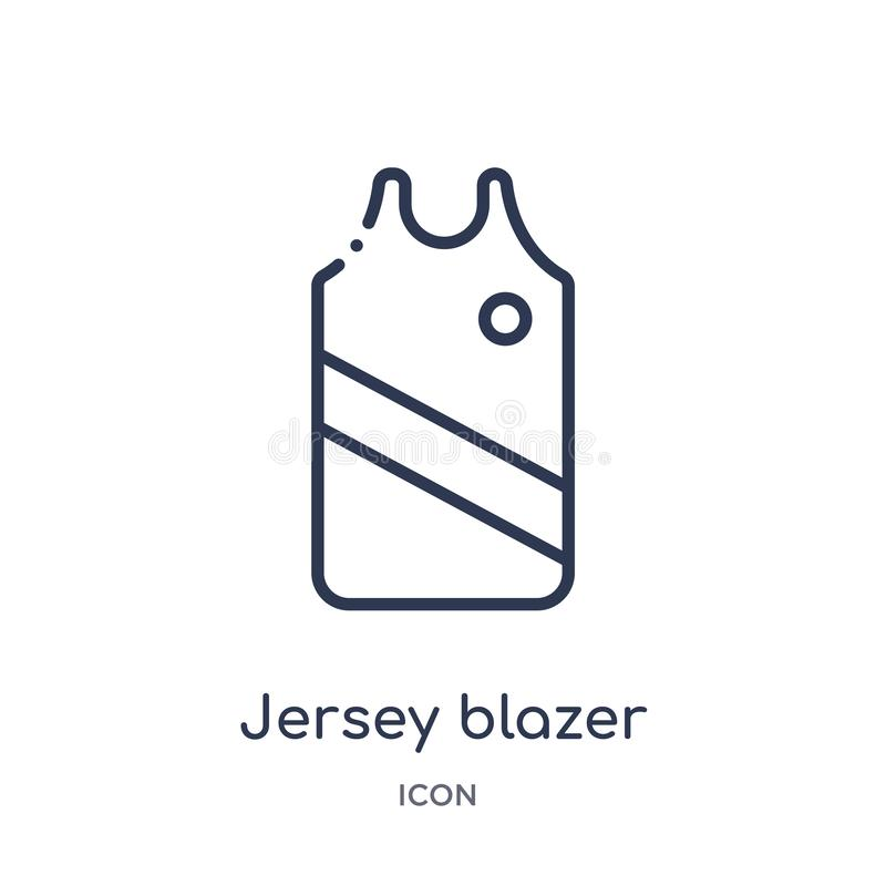 Lineair de blazerpictogram van Jersey van de inzameling van het Klerenoverzicht Dunne die de blazervector van lijnjersey op witte stock illustratie