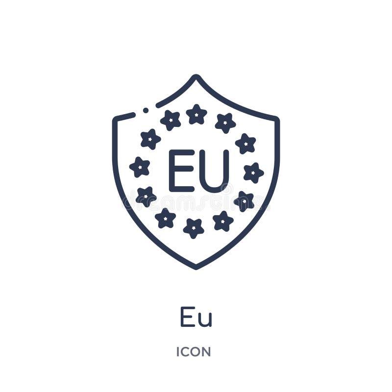 Lineair de EU-pictogram van Gdpr-overzichtsinzameling Het dunne die pictogram van de lijneu op witte achtergrond wordt geïsoleerd vector illustratie