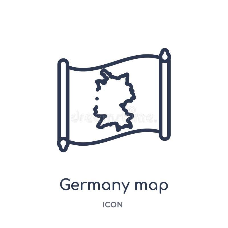 Lineair de kaartpictogram van Duitsland van Countrymaps-overzichtsinzameling Dunne die de kaartvector van lijnduitsland op witte  stock illustratie