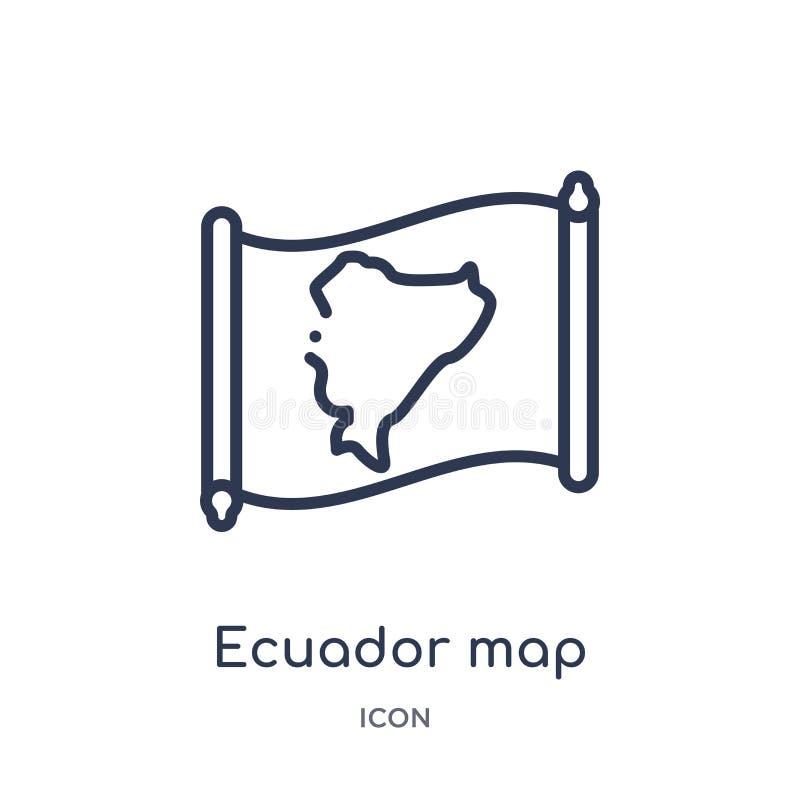 Lineair de kaartpictogram van Ecuador van Countrymaps-overzichtsinzameling Dunne die de kaartvector van lijnecuador op witte acht royalty-vrije illustratie