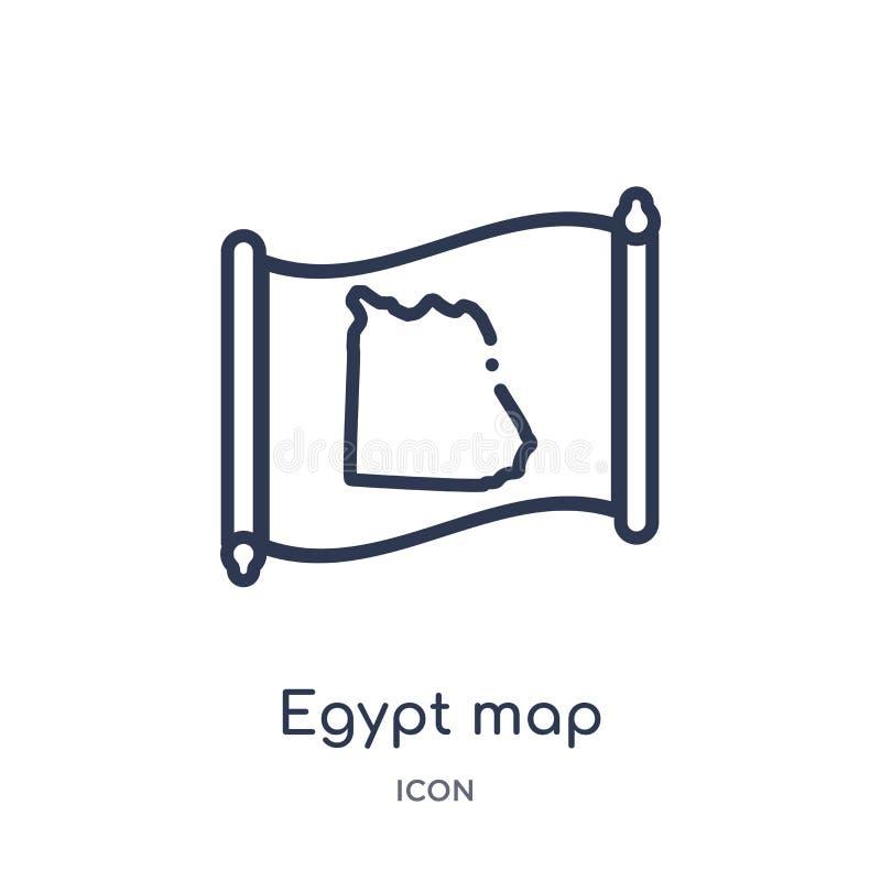 Lineair de kaartpictogram van Egypte van Countrymaps-overzichtsinzameling Dunne die de kaartvector van lijnegypte op witte achter stock illustratie