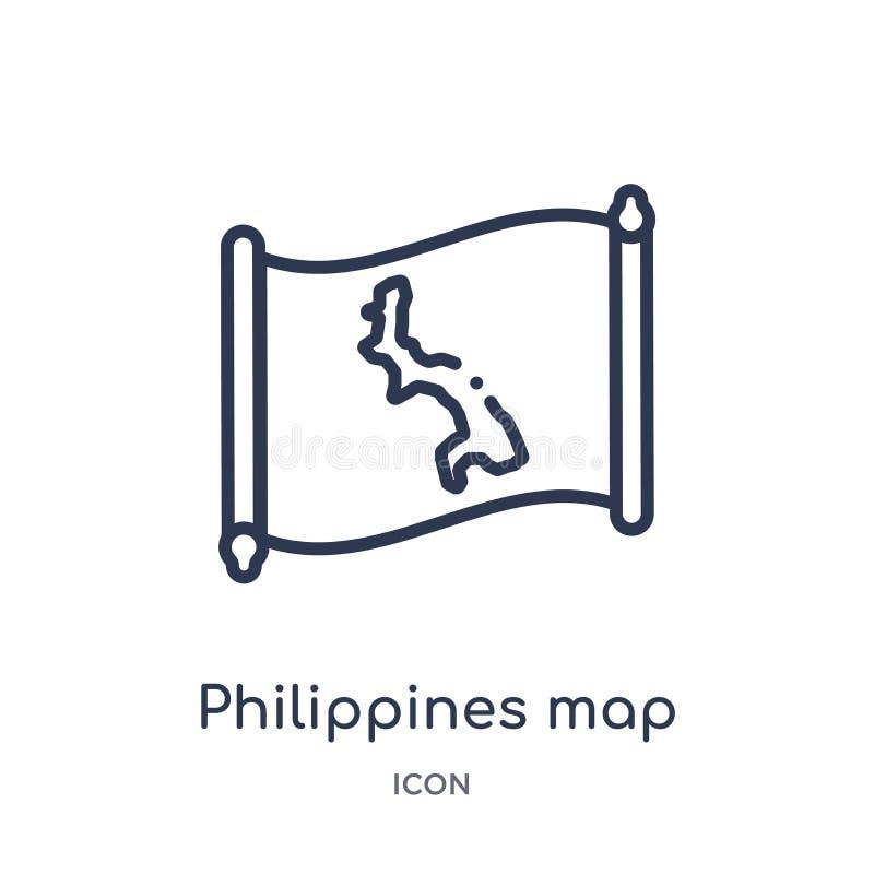 Lineair de kaartpictogram van Filippijnen van Countrymaps-overzichtsinzameling Dunne die de kaartvector van lijnfilippijnen op wi vector illustratie