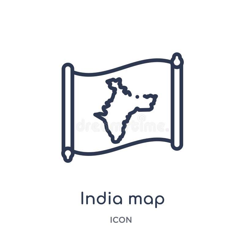 Lineair de kaartpictogram van India van Countrymaps-overzichtsinzameling Dunne die de kaartvector van lijnindia op witte achtergr vector illustratie