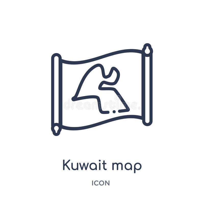 Lineair de kaartpictogram van Koeweit van Countrymaps-overzichtsinzameling Dunne die de kaartvector van lijnkoeweit op witte acht stock illustratie