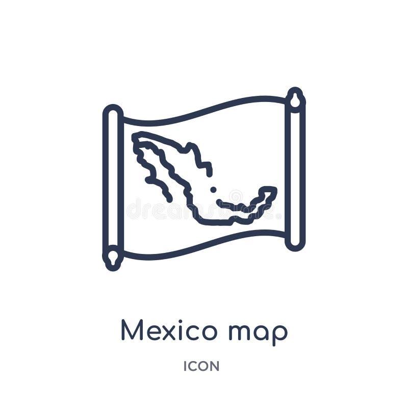 Lineair de kaartpictogram van Mexico van Countrymaps-overzichtsinzameling Dunne die de kaartvector van lijnmexico op witte achter stock illustratie