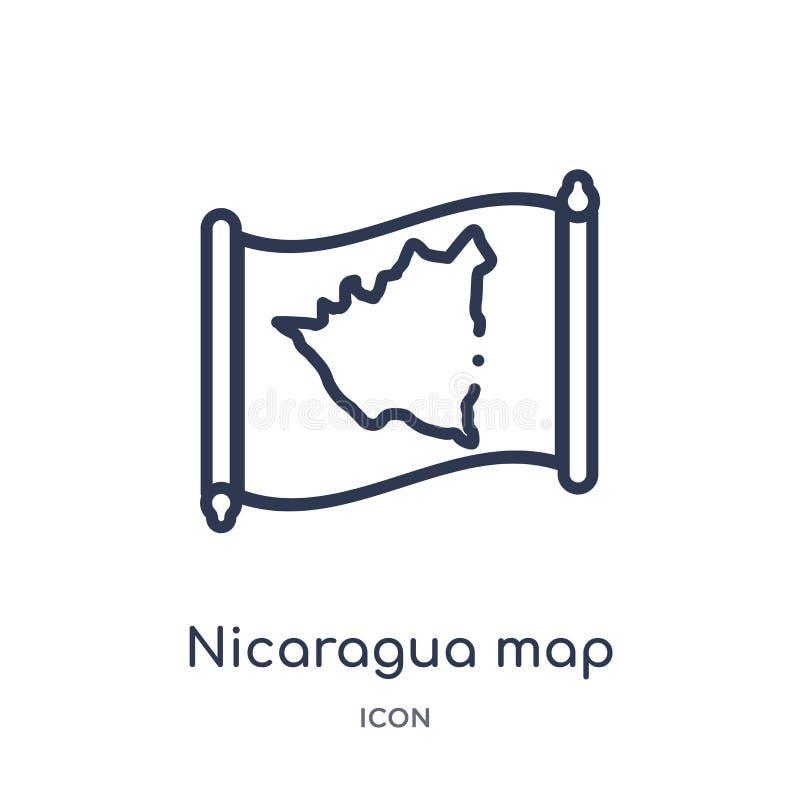 Lineair de kaartpictogram van Nicaragua van Countrymaps-overzichtsinzameling Dunne die de kaartvector van lijnnicaragua op witte  royalty-vrije illustratie