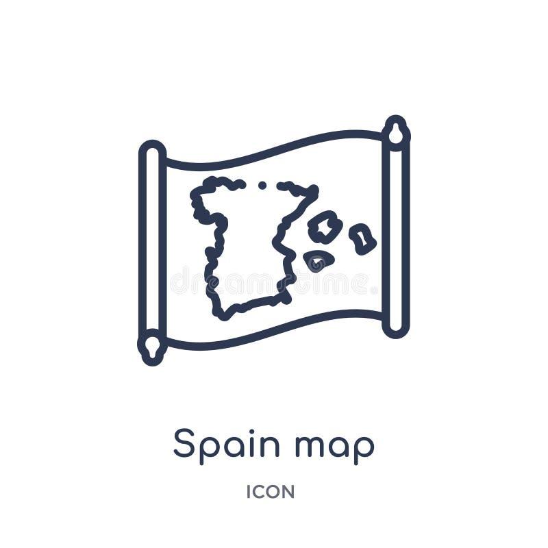 Lineair de kaartpictogram van Spanje van Countrymaps-overzichtsinzameling Dunne die de kaartvector van lijnspanje op witte achter royalty-vrije illustratie