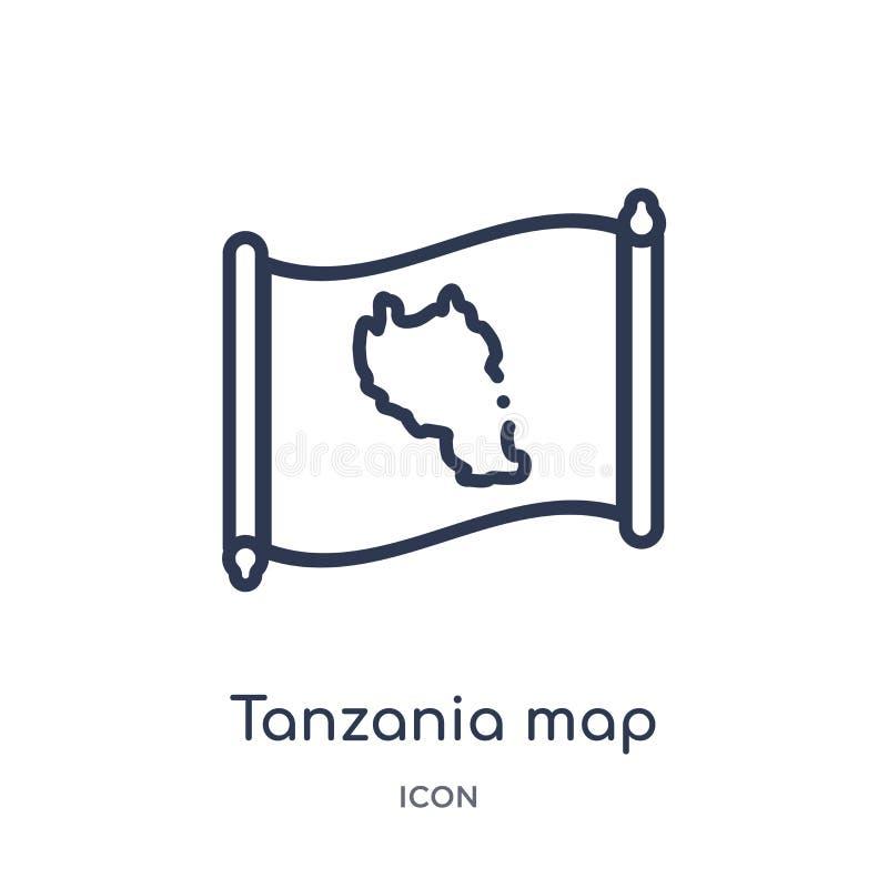 Lineair de kaartpictogram van Tanzania van Countrymaps-overzichtsinzameling Dunne die de kaartvector van lijntanzania op witte ac stock illustratie