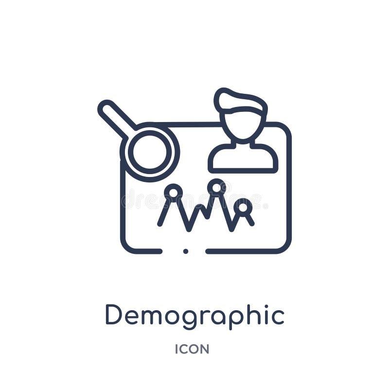Lineair demografisch pictogram van de inzameling van het Kunstmatige intelligentieoverzicht Dunne lijn demografische die vector o stock illustratie