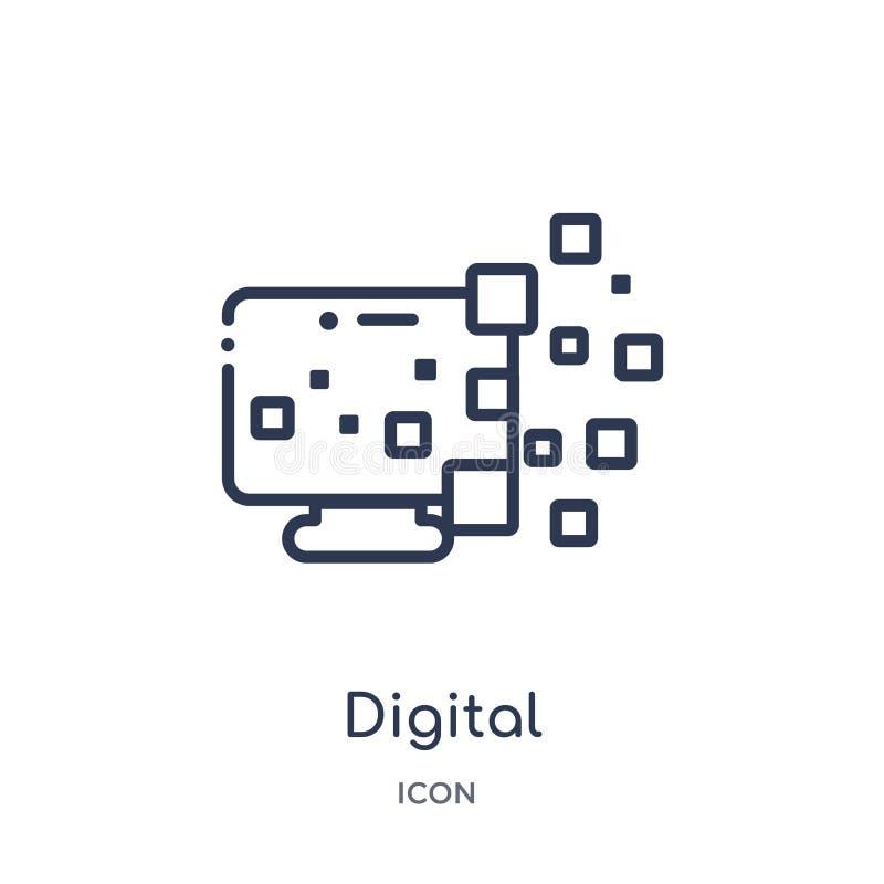 Lineair digitaal transformatiepictogram van Algemene overzichtsinzameling Het dunne pictogram van de lijn digitale transformatie  vector illustratie
