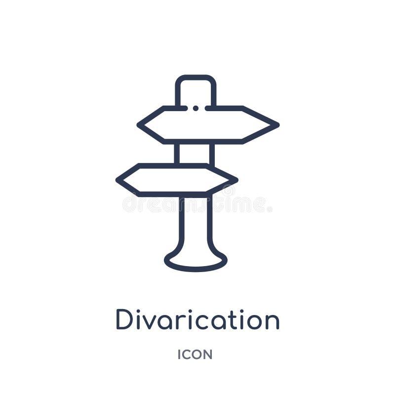 Lineair divaricationpictogram van Kaarten en Vlaggenoverzichtsinzameling Het dunne die pictogram van lijndivarication op witte ac royalty-vrije illustratie