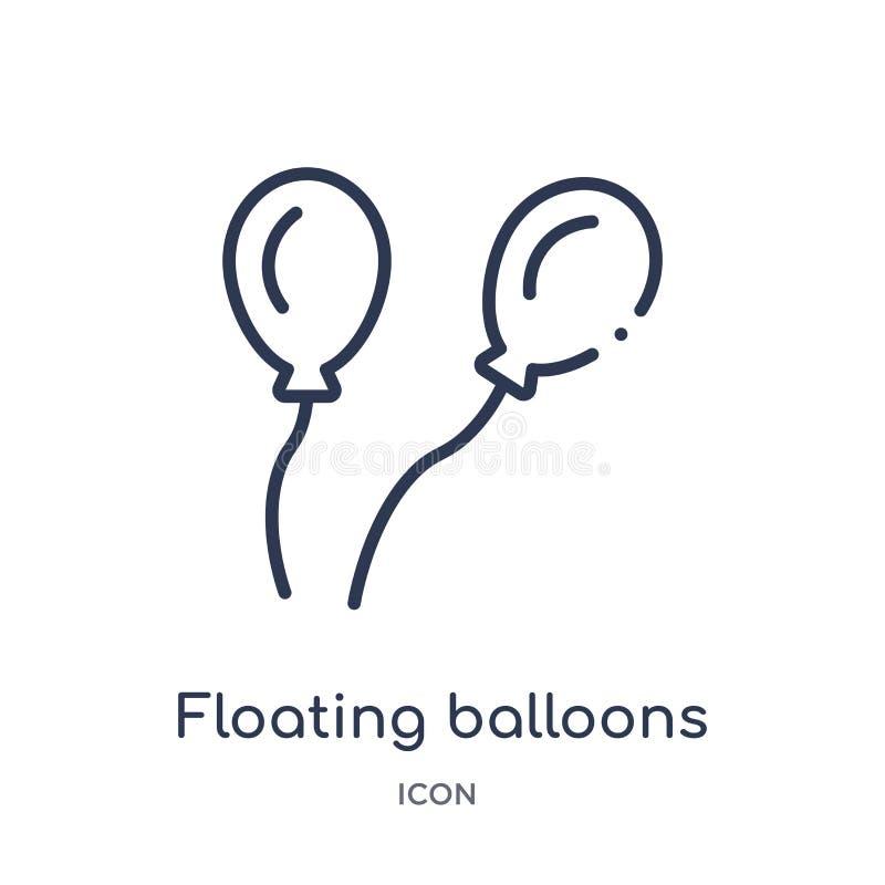 Lineair drijvend ballonspictogram van Algemene overzichtsinzameling Het dunne pictogram van lijn drijvende die ballons op witte a royalty-vrije illustratie